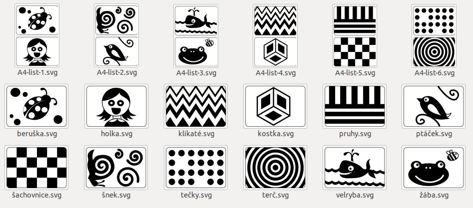 náhled na kontrastní karty ve formátu SVG, uložené v zip archivu