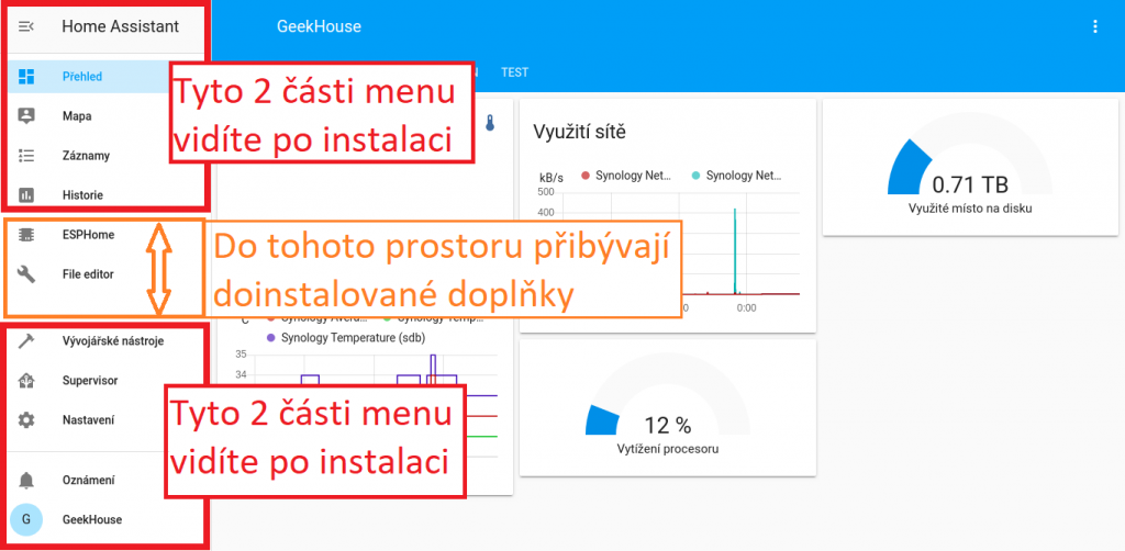 Menu v Home Assistant