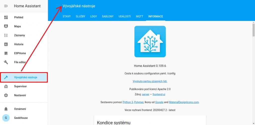 Prostředí Home Assistant -Vývojářské nástroje, karta informace