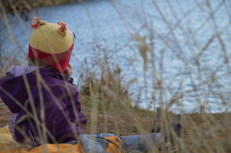 Holka sedící na břehu rybníka, vyfocená přes stébla suché trávy