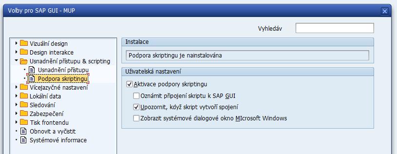 Deaktivování popup oznámení o připojení skriptu k SAP GUI