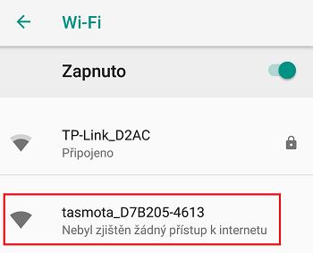 wi-fi tasmota v telefonu