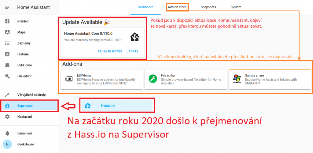 Home Assistant - Supervisor (dříve Hass.io), karta Add-on store