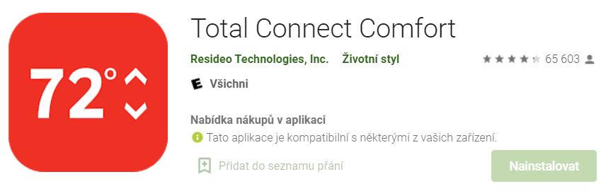 Mobilní aplikace Honeywell Total Connect Comfort