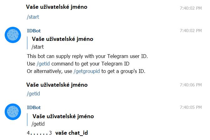 Komunikace s robotem @myidbot a získání chat_id